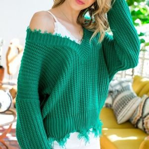 Kelly Green Frayed Sweater